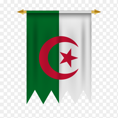Flag of Algeria in various shape on transparent background PNG