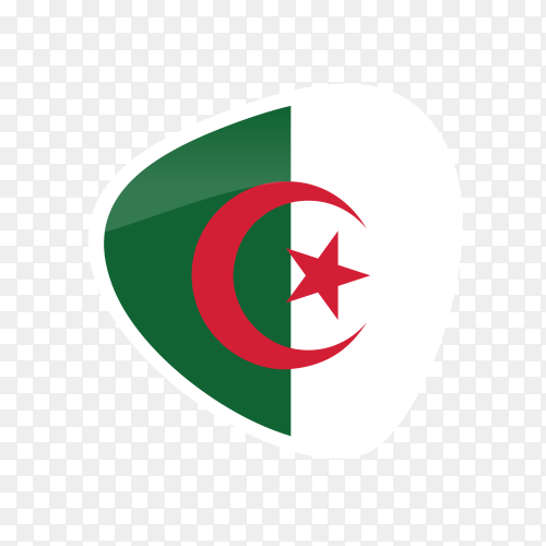 Flag of Algeria isolated on transparent background PNG