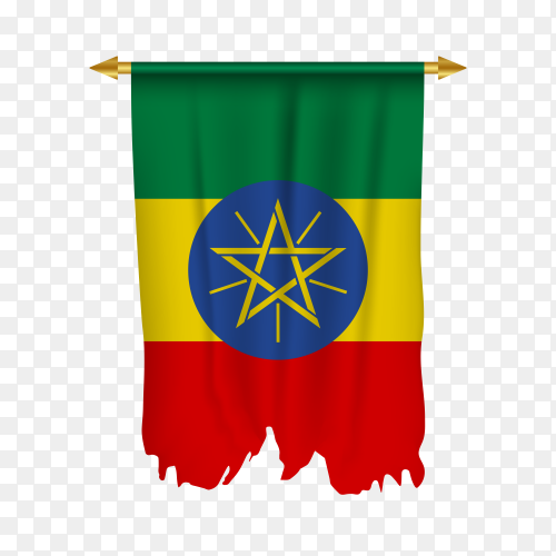 Flag of Ethiopia isolated on transparent background PNG