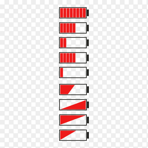 Flat design of battery charge indicator icons set on transparent background PNG