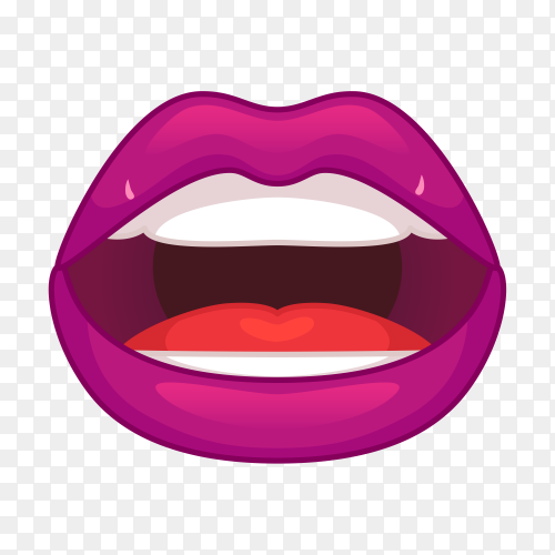Flat style mouth and lips on transparent background PNG