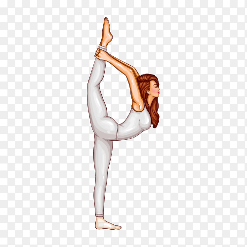 Girl in white suit doing gymnastics or yoga, stands in position on one leg and stretches on transparent background PNG