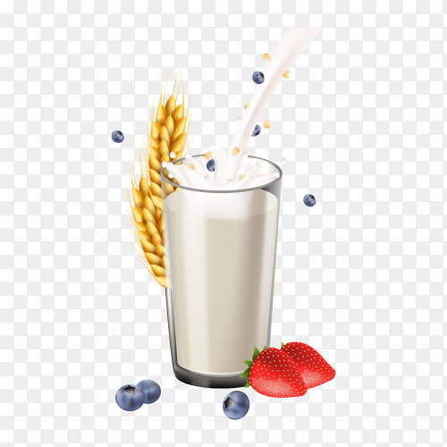 Glass of Milk with strawberry and wheat on transparent background PNG