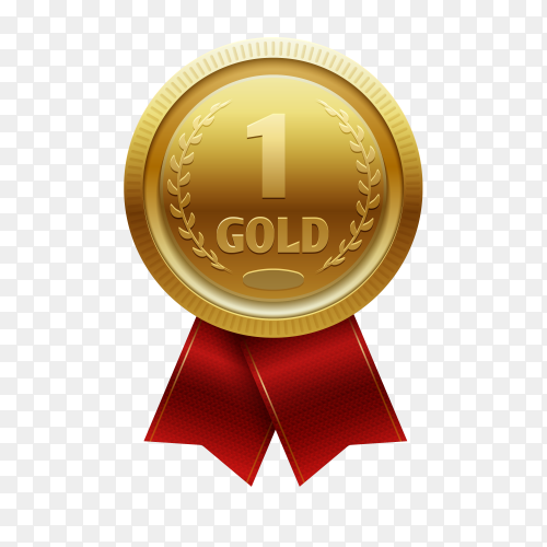 Gold medal with red ribbon for first place on transparent background PNG