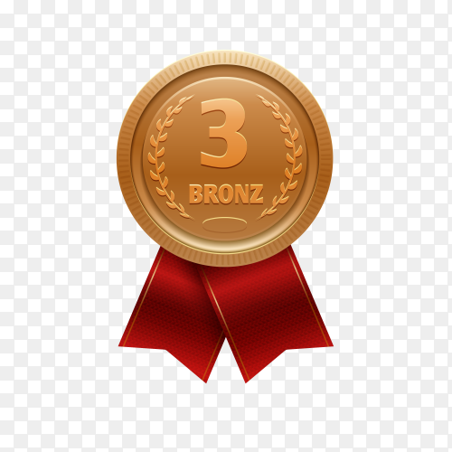 Gold medal with red ribbon for third place on transparent background PNG