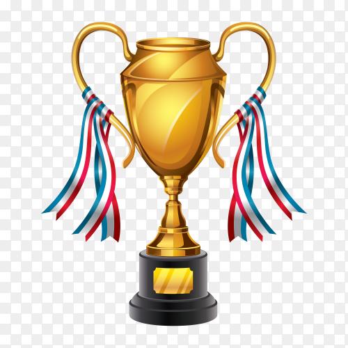 Golden Award trophy on transparent background PNG
