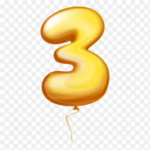 Golden Balloon in the shape of number Three on transparent background PNG