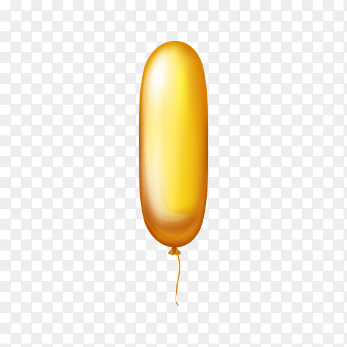 Golden Balloon in the shape of number one on transparent background PNG