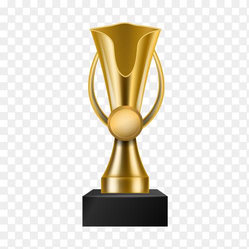 Golden Trophy award cup. Champion trophy on transparent background PNG
