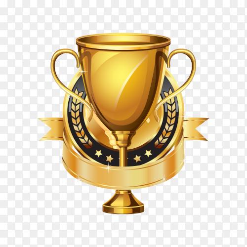 Golden award trophy with medal on transparent background PNG