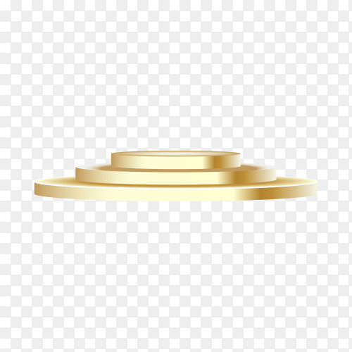 Golden round podium isolated on transparent background PNG
