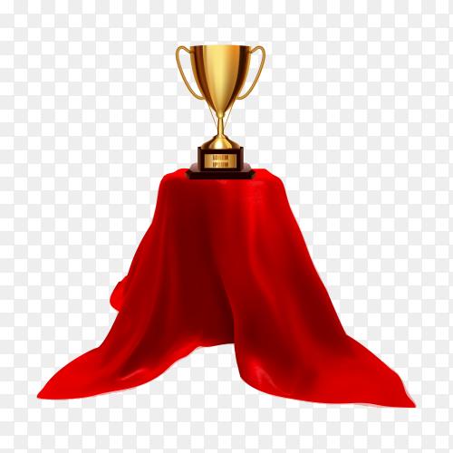 Golden trophy goblet on a pedestal with red cloth on transparent background PNG