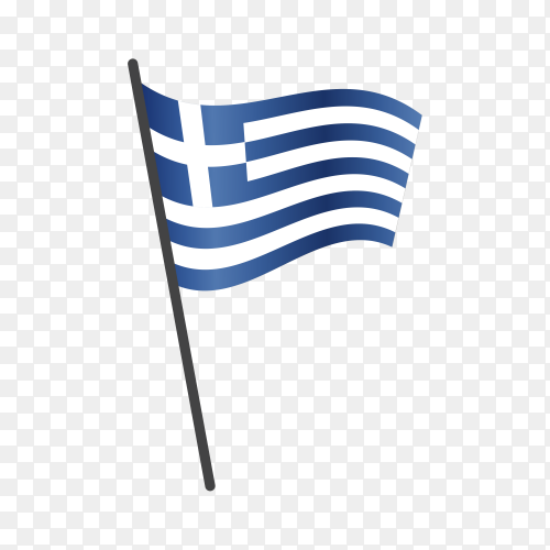 Greece flag waving on a flagpole on transparent background PNG