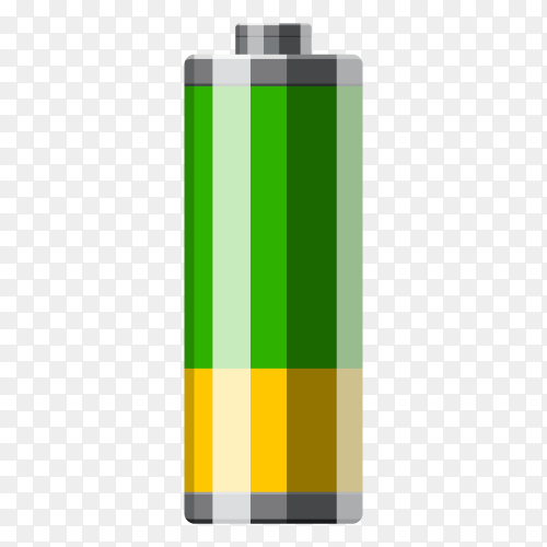 Green battery isolated premium vector PNG