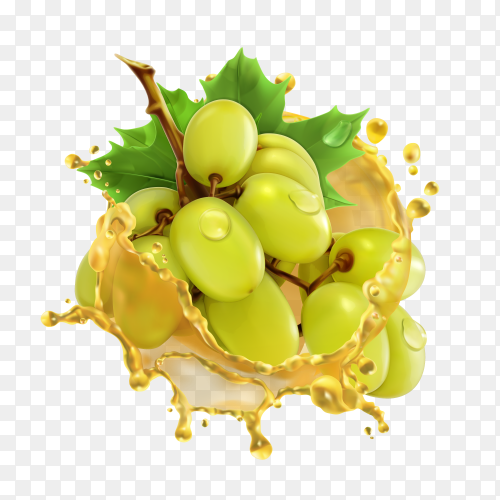 Green grape in a milk splash on transparent background PNG