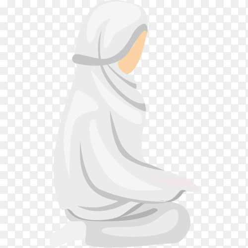 Hand drawn Muslim female praying on transparent PNG