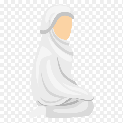 Hand drawn Muslim female praying on transparent background PNG