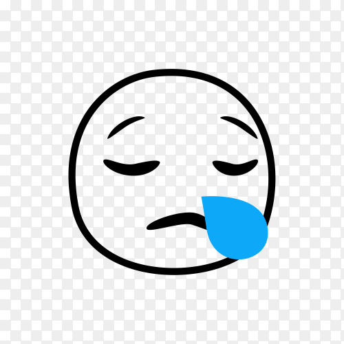 Hand drawn Sad Crying Emoji on transparent background PNG