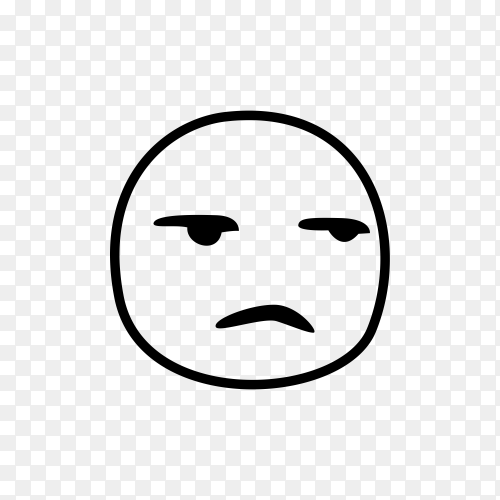 Hand drawn Sad face emoji on transparent background PNG