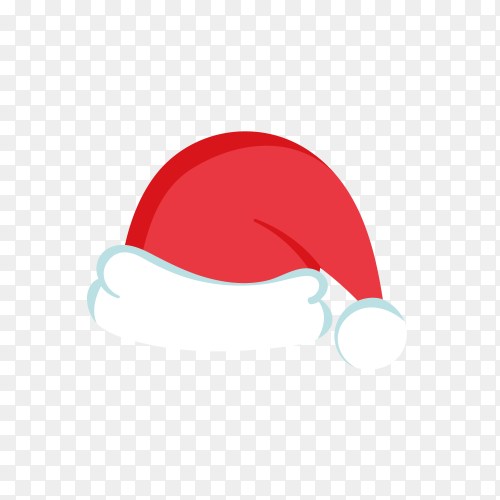 Hand drawn Santa Claus hat in red Color on transparent PNG