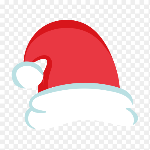 Hand drawn Santa Claus hat in red Color on transparent background PNG