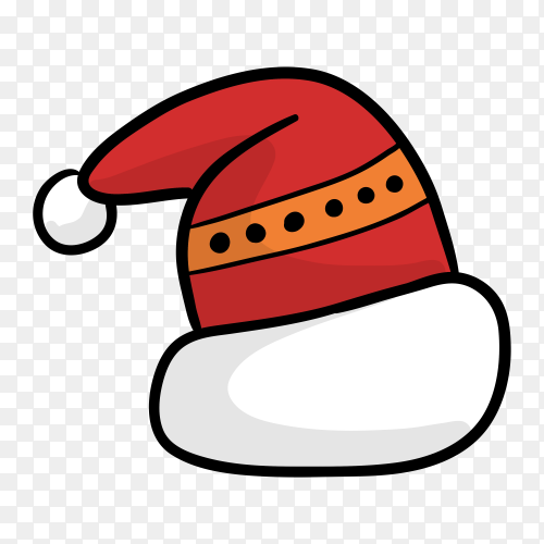 Hand drawn santa's hat on transparent PNG