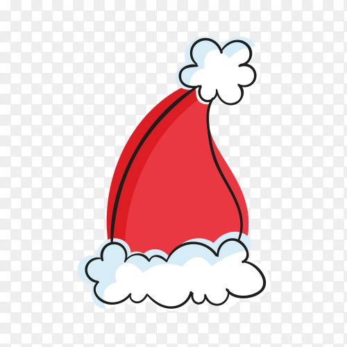 Hand drawn santa's hat on transparent background PNG