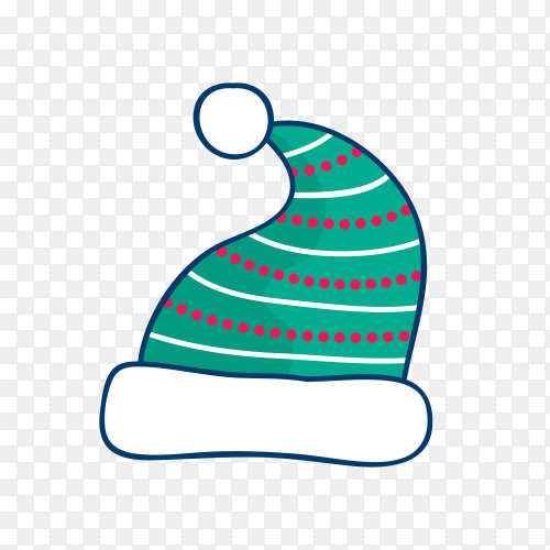 Hand drawn Santa Claus hat isolated on transparent background PNG