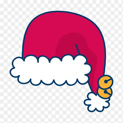 Hand drawn santa claus hat on transparent PNG