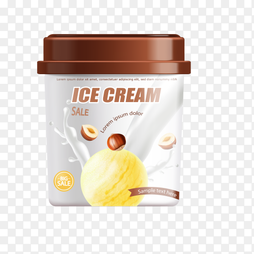Ice cream plastic bucket isolated on transparent background PNG