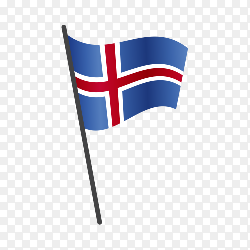 Iceland flag waving on a flagpole on transparent background PNG
