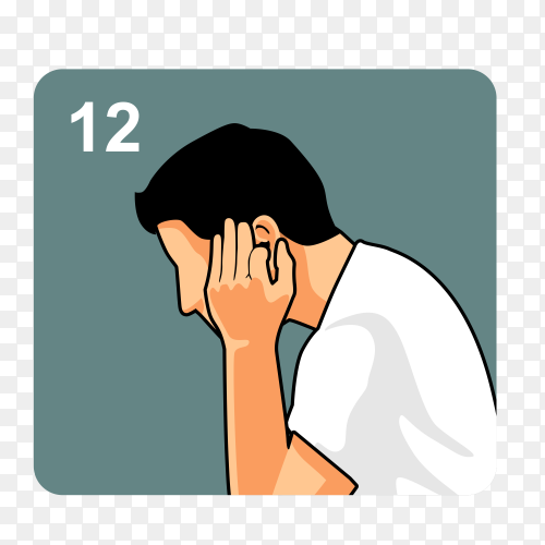 Illustration of Man muslim perform ablution (wudu) washing Ears before prayer on transparent background PNG