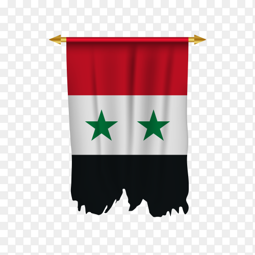 Illustration of Syria pennant on transparent background PNG