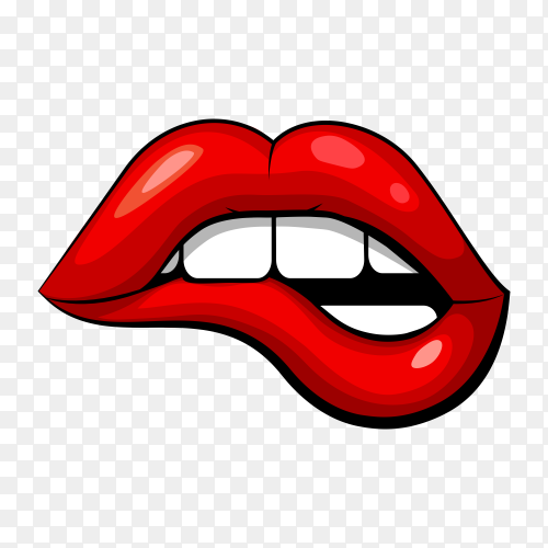 Illustration of a woman mouth biting her lower lip on transparent background PNG