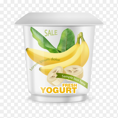 Illustration of banana yogurt on transparent background PNG