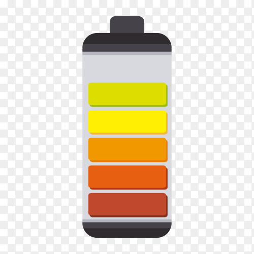 Illustration of battery icon design on transparent background PNG