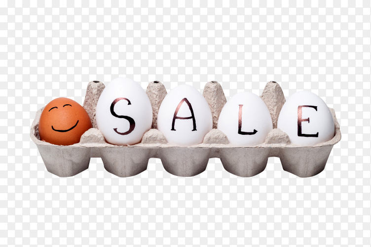 Illustration of chicken eggs in cartoon box on transparent PNG