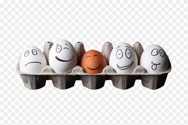 Illustration of chicken eggs in cartoon box on transparent background PNG
