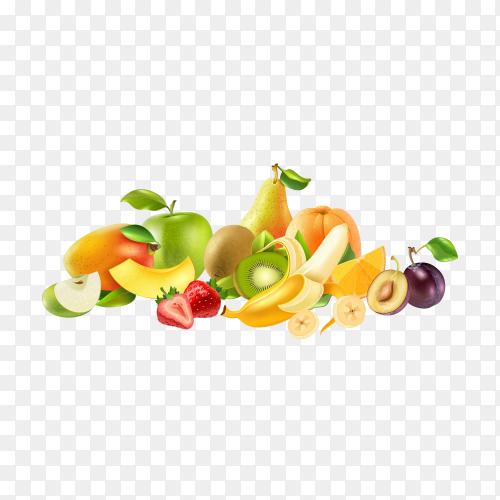 Illustration of fresh fruits on transparent background PNG