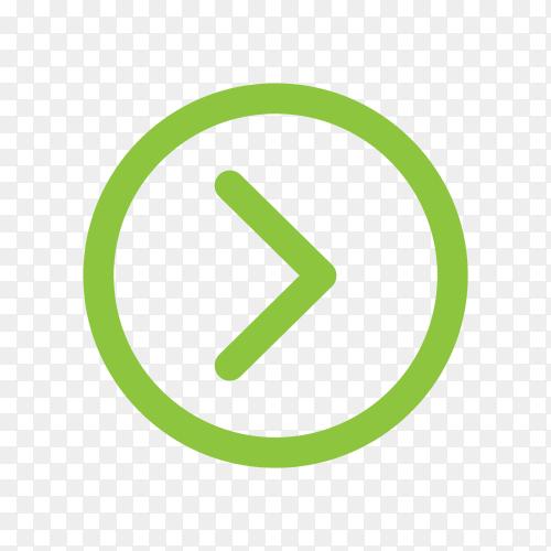 Illustration of green arrow sign on transparent background PNG