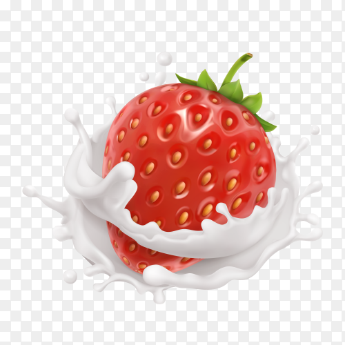 Illustration of realistic strawberry in milk splash on transparent background PNG