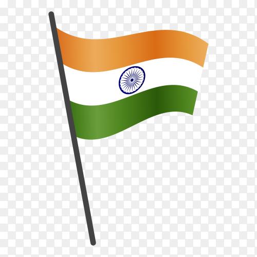 Indian flag illustration on transparent background PNG
