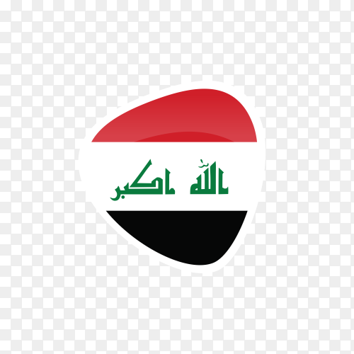 Iraq flag icon on transparent background PNG