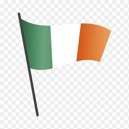 Ireland flag waving on a flagpole on transparent background PNG