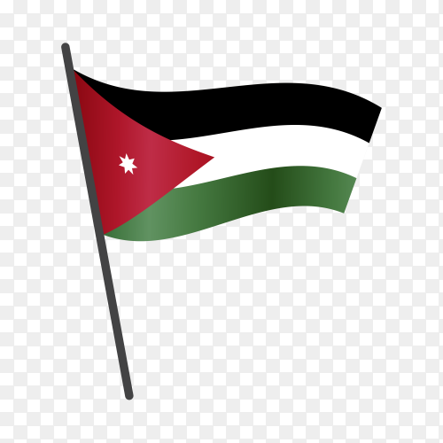 Jordan flag waving on a flagpole on transparent background PNG