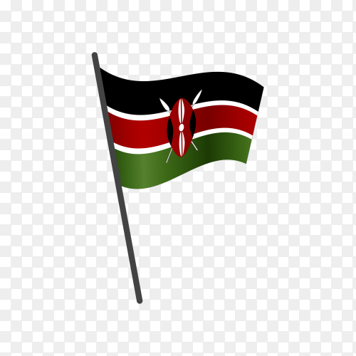 Kenya flag waving on a flagpole on transparent background PNG
