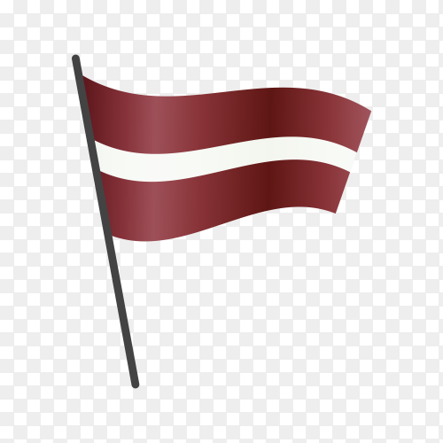 Latvia flag waving on a flagpole on transparent background PNG