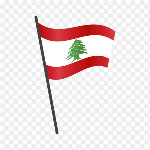 Lebanon flag waving on a flagpole on transparent background PNG