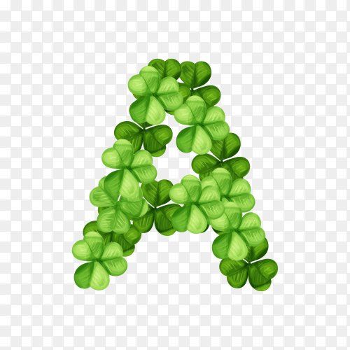 Letter A clover ornament isolated on transparent background PNG