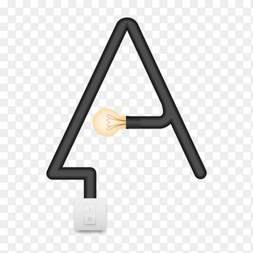 Letter A with bulb lights design on transparent background PNG